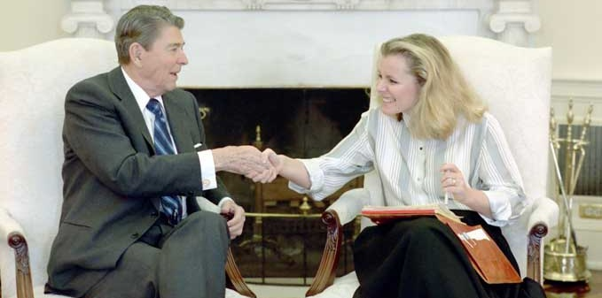 President Reagan with Peggy Noonan